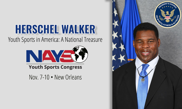 Football great Herschel Walker speaking at Youth Sports Congress